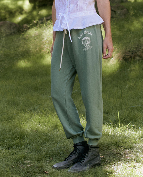 The Cropped Sweatpant. Graphic -- BASIL WITH CREST GRAPHIC