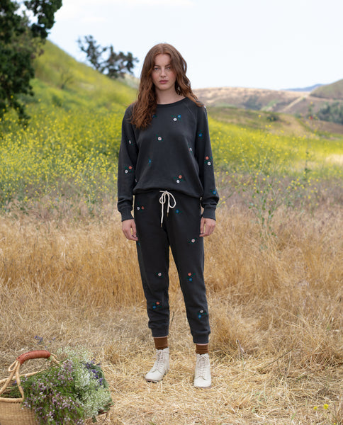 The Cropped Sweatpant. -- WASHED BLACK WITH Multi Field Floral Embroidery