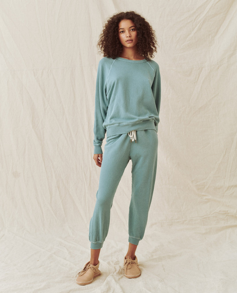 The Cropped Sweatpant. Solid -- TIDE BLUE