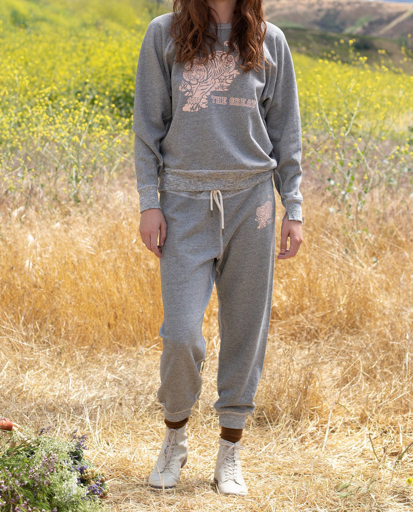The Cropped Sweatpant. -- VARSITY GREY with Tiger Graphic