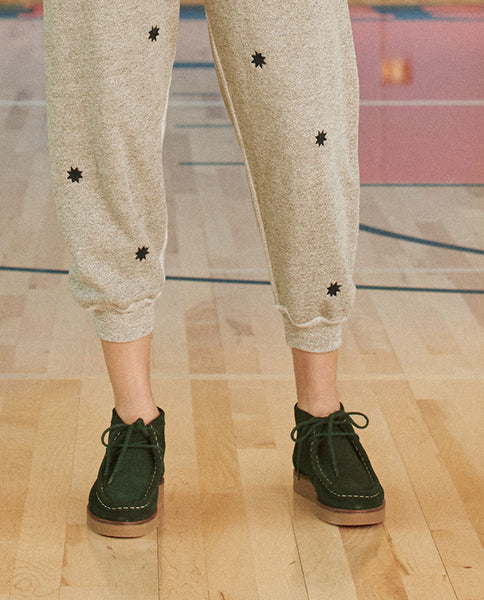 The Cropped Sweatpant. Embroidered -- VARSITY GREY WITH BADGE EMBROIDERY
