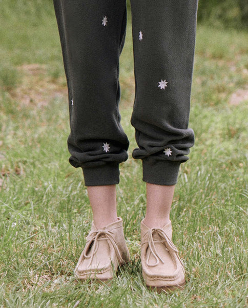 The Cropped Sweatpant. Embroidered -- WASHED BLACK WITH BADGE EMBROIDERY