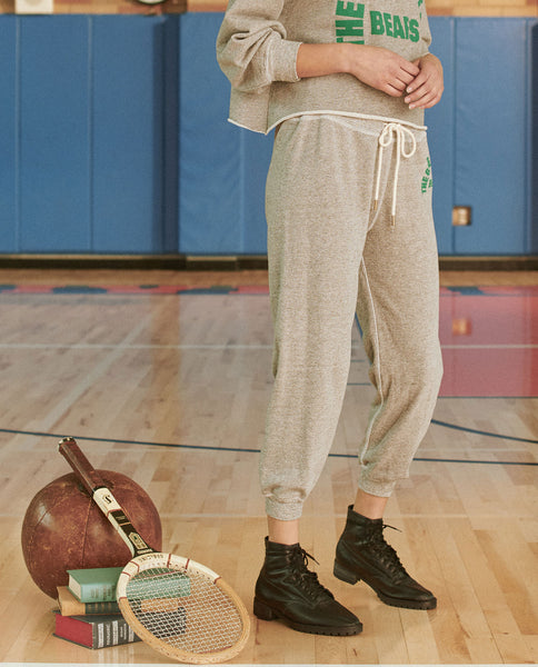 The Cropped Sweatpant. Graphic -- VARSITY GREY WITH BOTTLE GREEN BEARS TRACK GRAPHIC