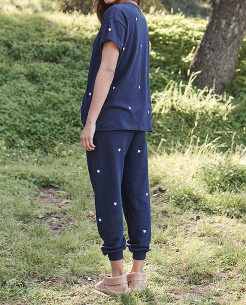 The Cropped Sweatpant. -- NAVY WITH HEART EMBROIDERY