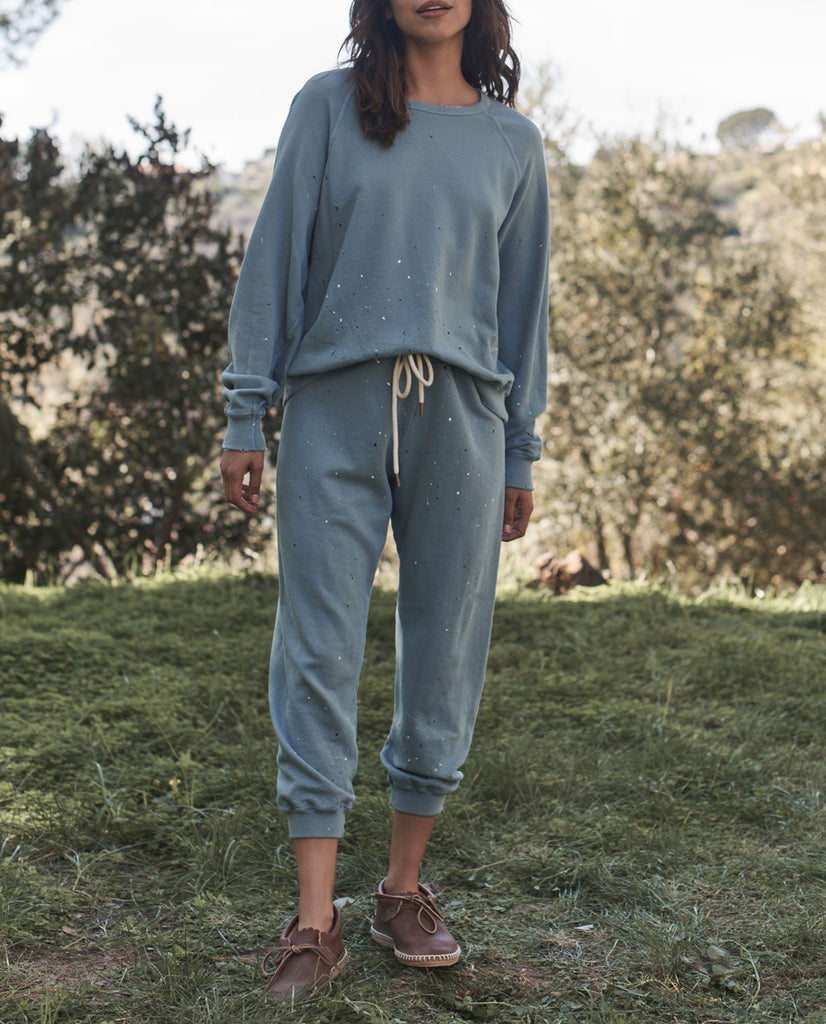 The Cropped Sweatpant. -- TURQUOISE with Paint