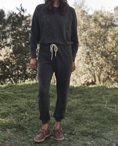 The Cropped Sweatpant. -- WASHED BLACK with Paint