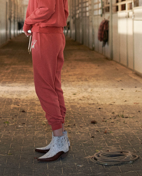 The Cropped Sweatpant. Graphic -- CARDINAL with Ram Graphic