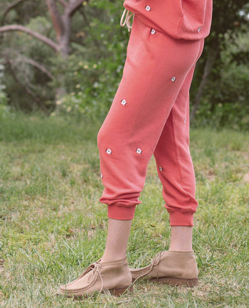 The Cropped Sweatpant. Embroidered -- AZALEA WITH WILDFLOWER EMBROIDERY
