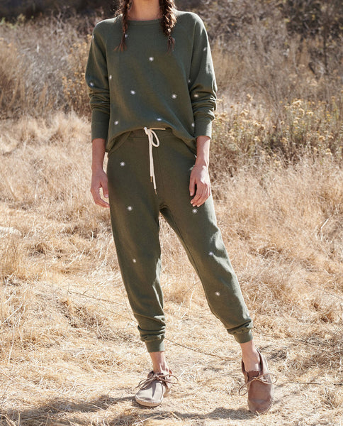 The Cropped Sweatpant. Embroidered -- OLIVE with Wishweed Embroidery
