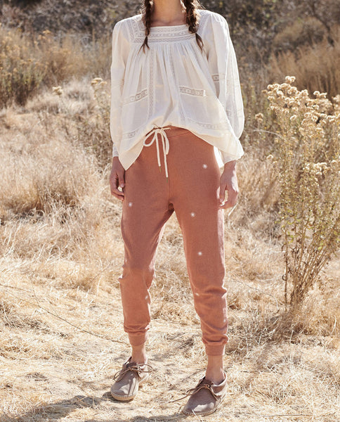 The Cropped Sweatpant. Graphic -- RUST with Wishweed Embroidery