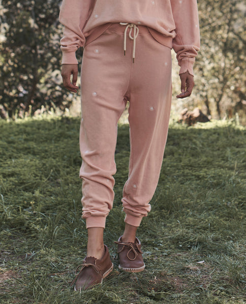 The Cropped Sweatpant. Embroidered -- PEACH PIE with Wishweed Embroidery