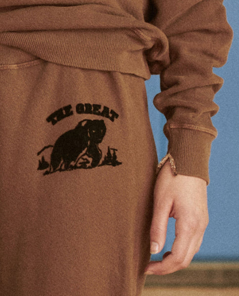 The Cropped Sweatpant. Graphic -- CHOCOLATE WITH WOODLAND BEAR FLOCKED GRAPHIC