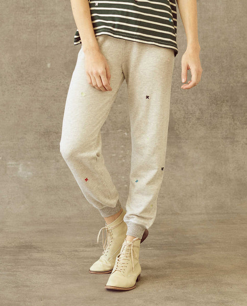 The Cropped Sweatpant. -- Heather Grey with Multi Folk Embroidery