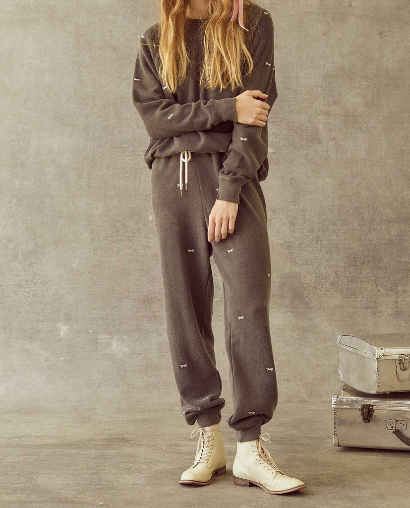 The Cropped Sweatpant. -- Washed Black with Bow Embroidery