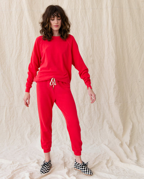 The Cropped Sweatpant. Solid -- CANDY APPLE