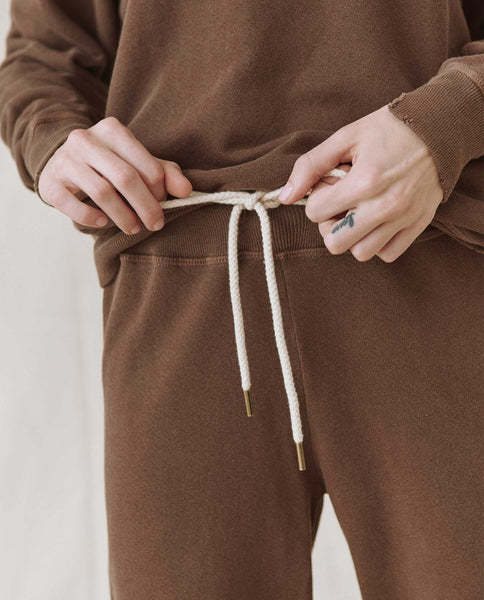 The Cropped Sweatpant. Solid -- CHOCOLATE