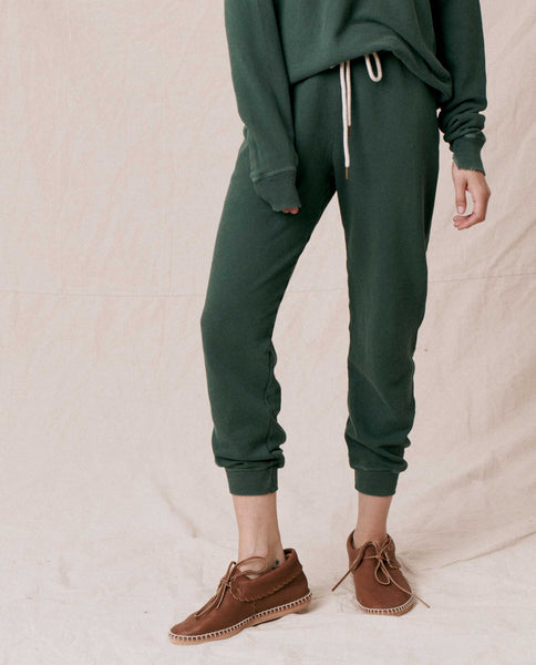 The Cropped Sweatpant. Solid -- SYCAMORE