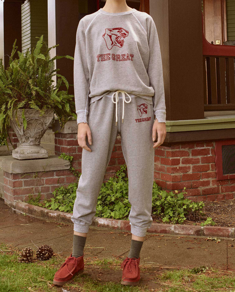 The Cropped Sweatpant. Graphic -- VARSITY GREY WITH JAGUAR GRAPHIC