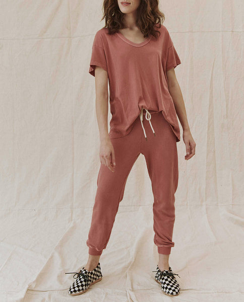 The Cropped Sweatpant. Solid -- VINTAGE DUSTY ROSE