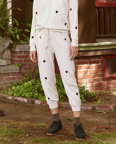The Cropped Sweatpant. Embroidered -- WASHED WHITE WITH HEART EMBROIDERY