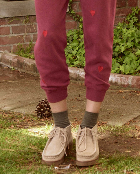The Cropped Sweatpant. Embroidered -- ZINFANDEL WITH HEART EMBROIDERY