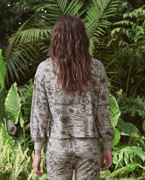 The Cut Off Sweatshirt. -- LIGHT HEATHER GREY WITH BLACK PALM PRINT