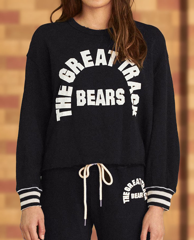 The Cut Off Sweatshirt. -- NAVY WITH BEARS TRACK GRAPHIC