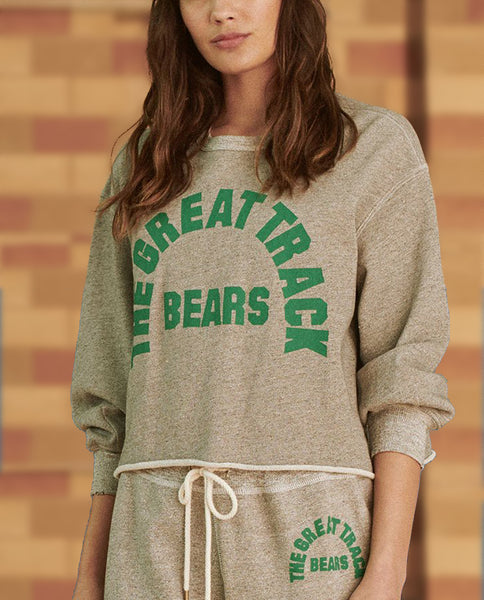 The Cut Off Sweatshirt. -- VARSITY GREY WITH BOTTLE GREEN BEARS TRACK GRAPHIC