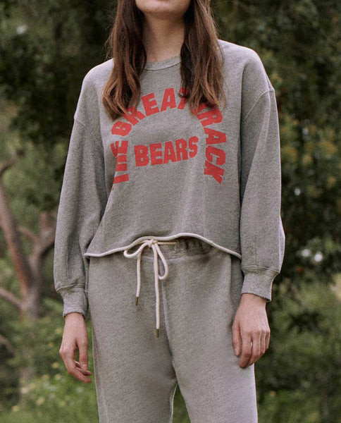 The Cut Off Sweatshirt. -- VARSITY GREY WITH CANDY APPLE BEARS TRACK GRAPHIC