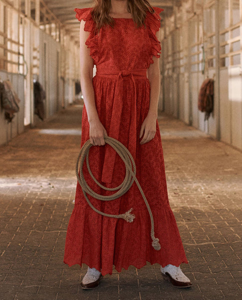 The Eyelet Apron Dress. -- CARDINAL