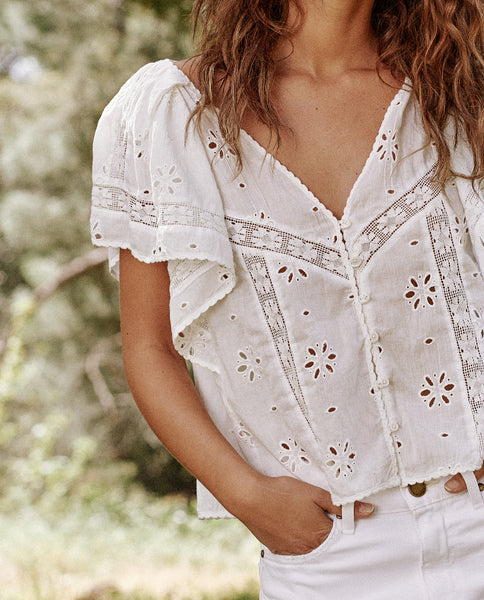 The Eyelet Flounce Top. -- True White