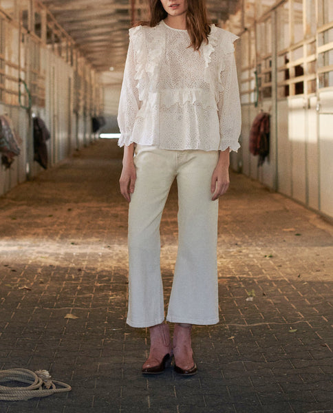 The Eyelet Flutter Top. -- CREAM