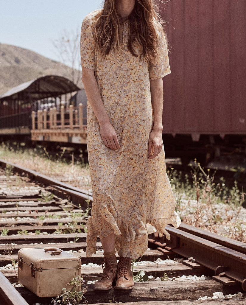 The Flutter Sleeve Dress. -- BUTTERCUP FLORAL