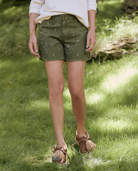 The Frayed Army Short. -- BEAT UP ARMY WITH SPRIG PRINT