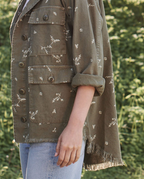The Frayed Lieutenant Jacket. -- BEAT UP ARMY WITH SPRIG PRINT