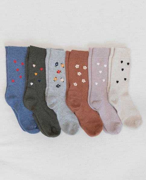 The Embroidered Sock. -- Spruce with Multi Heart Embroidery