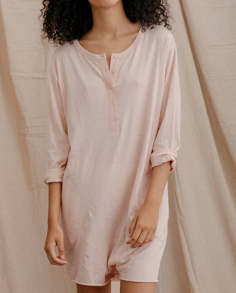 The Henley Romper. -- ROSE DUST