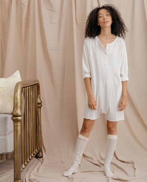 The Henley Romper. -- WASHED WHITE