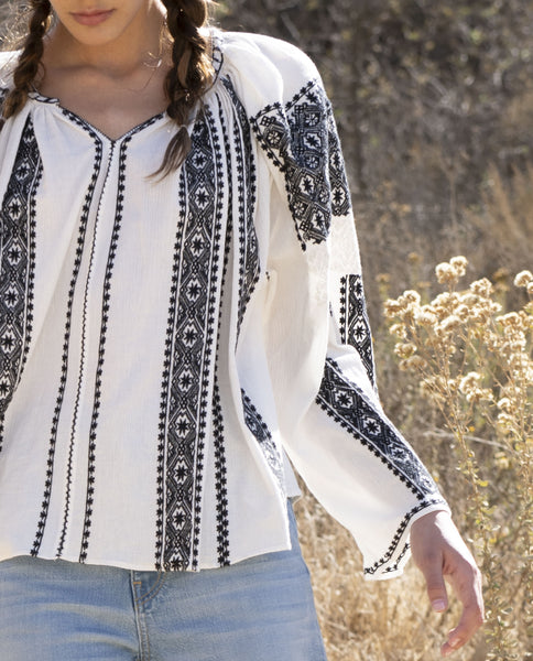 The Journey Top. -- White/Black With Embroidery