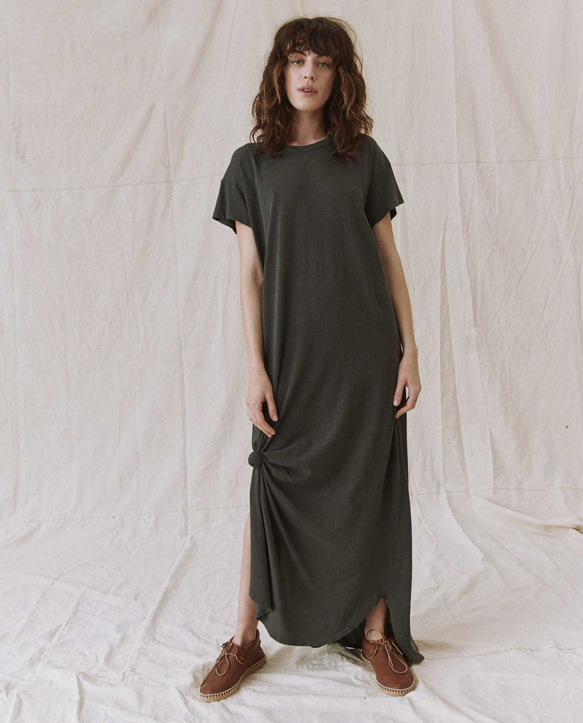 The Knotted Tee Dress. -- Washed Black