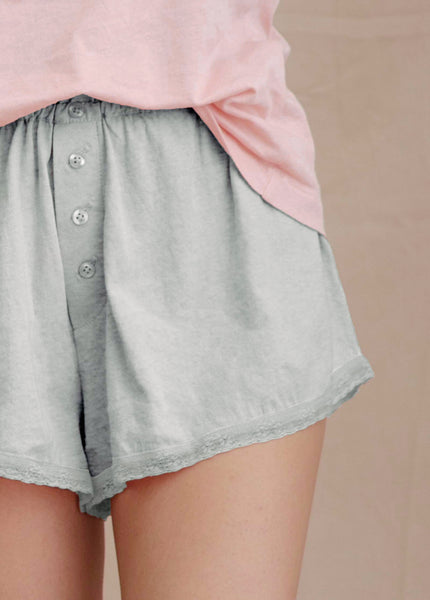 The Lace Tap Short. -- LIGHT HEATHER GREY
