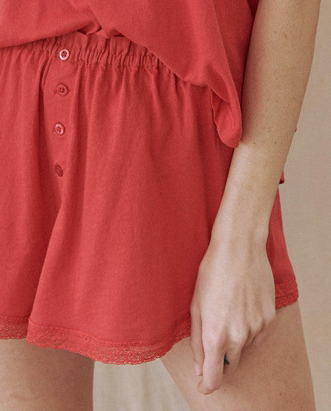 The Lace Tap Short. -- TEABERRY