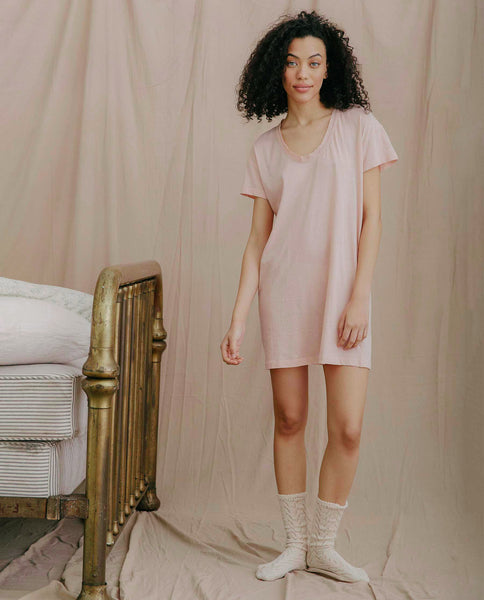 The Lace Tee Dress. -- ROSE DUST