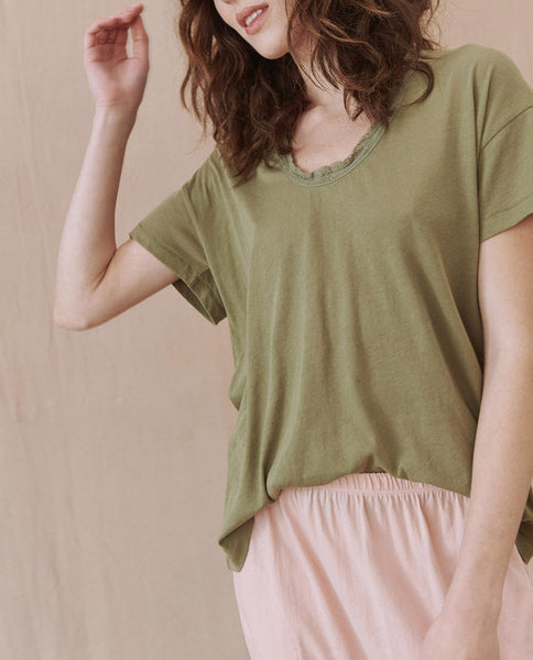 The Lace Tee. -- ARMY GREEN