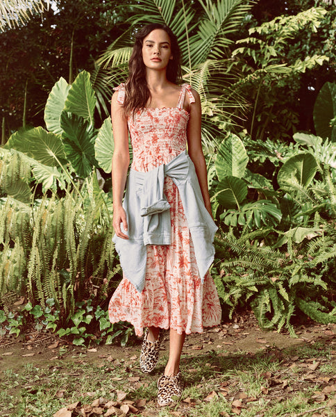 The Lagoon Dress. -- RED PALM PRINT