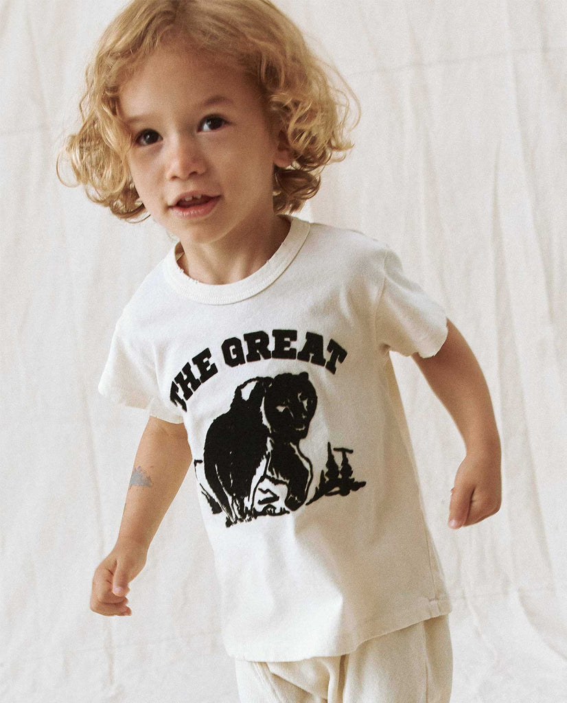 The Little Boxy Crew. -- WASHED WHITE WITH WOODLAND BEAR FLOCKED GRAPHIC