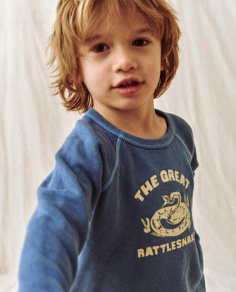 The Little College Sweatshirt. Graphic -- Vintage Blue With Rattlesnake Graphic