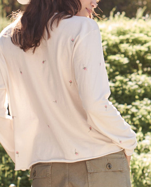 The Long Sleeve Crop Tee. -- WASHED WHITE WITH SCATTERED ROSE EMBROIDERY