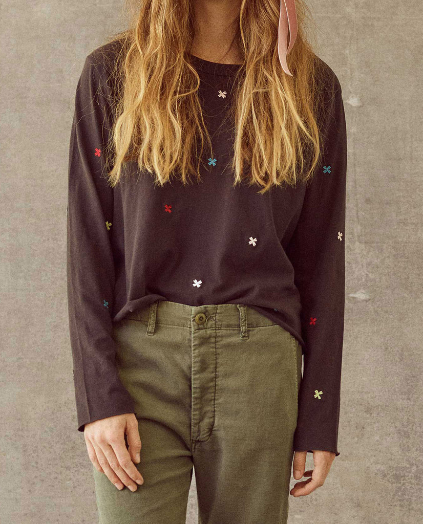 The Long Sleeve Crop Tee. -- Almost Black with Multi Folk Embroidery