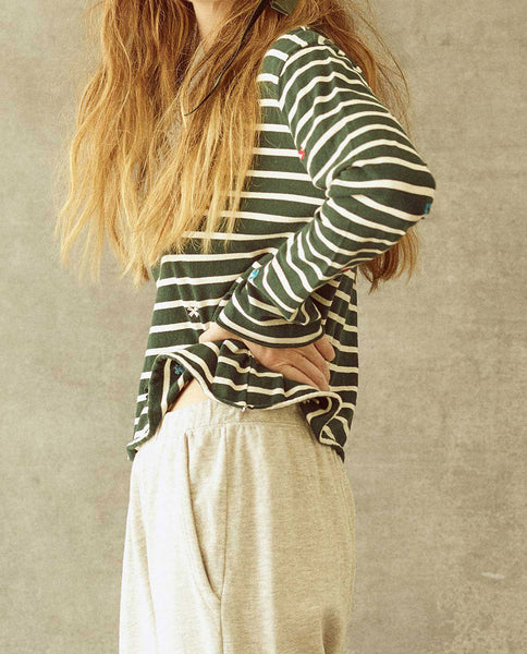 The Long Sleeve Crop Tee. -- Emerald Stripe with Multi Folk Embroidery